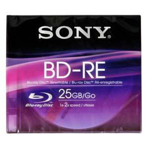 Sony Blu-Ray BD-RE 25GB 1-2x Speed, Slim Case